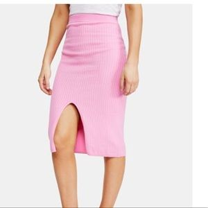 Pink free people sweater midi skirt